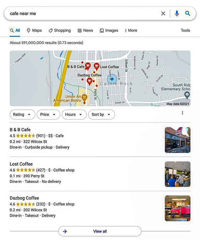 Google My Business 3-Pack Listing
